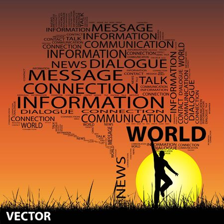 announcing: Conceptual contact technology tree man at sunset  word cloud with sun and grass Illustration