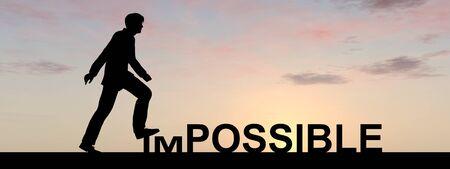 概念の不可能なテキストの概念は日没のバナーで男と