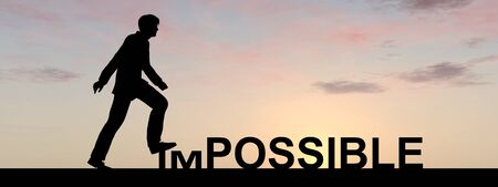 Conceptual impossible text concept with a man at sunset banner