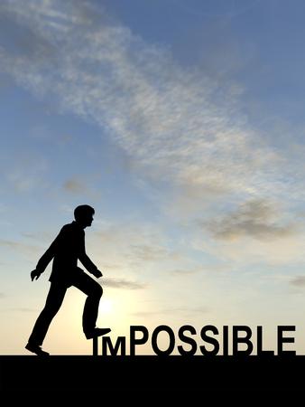 Conceptuele onmogelijk tekst concept met een man bij zonsondergang