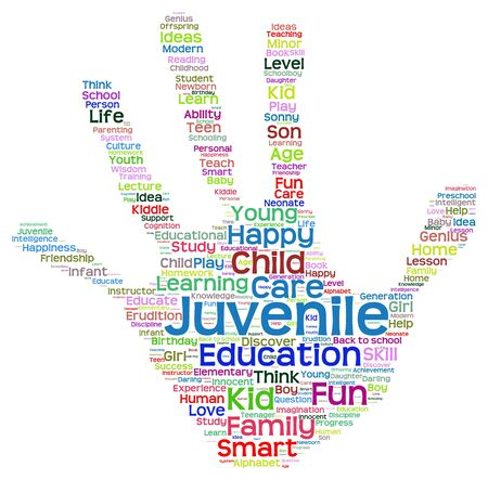 school life: Concept conceptual education abstract hand print word cloud, metaphor to child, family, school, life, learn, knowledge, home, study, teach, educational, achievement, childhood, teen handprint