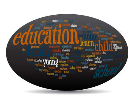 school life: Concept or conceptual oval education abstract word cloud, black background, metaphor to child, family, school, life, learn, knowledge, home, study, teach, educational, achievement, childhood or teen