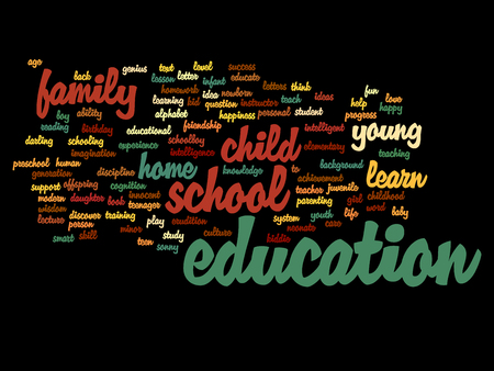 school life: Concept or conceptual education abstract word cloud, white background, metaphor to child, family, school, life, learn, knowledge, home, study, teach, educational, achievement, childhood or teen Stock Photo