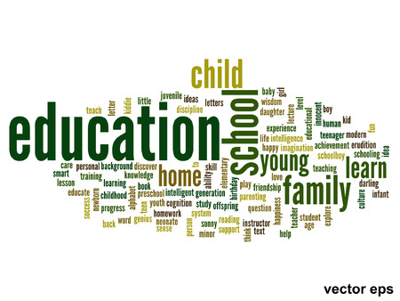 school life: Concept or conceptual education abstract word cloud, white background, metaphor to child, family, school, life, learn, knowledge, home, study, teach, educational, achievement, childhood or teen Illustration