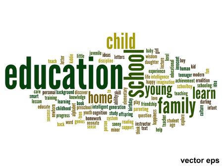 school life: Concepto o la educación conceptual abstracta nube de palabras, el fondo blanco, la metáfora con el niño, la familia, la escuela, la vida, aprender, conocimiento, casa, estudio, enseñar, la educación, el logro, la infancia o adolescente