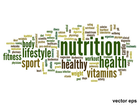 salud y deporte: Concepto o conceptual nube de la palabra abstracta sobre fondo negro como metáfora de la salud, nutrición, dieta, salud, cuerpo, energía, médico, físico, médico, gimnasio, la medicina, el deporte, el corazón o la ciencia Vectores