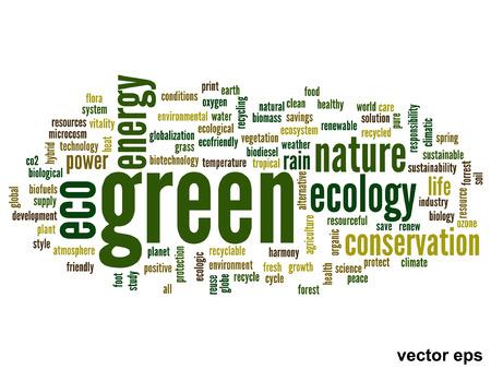 概念または概念の抽象的な緑の生態と保全単語雲白い背景、環境、リサイクル、地球、代替、保護、エネルギー、環境にやさしいやバイオにメタフ  イラスト・ベクター素材