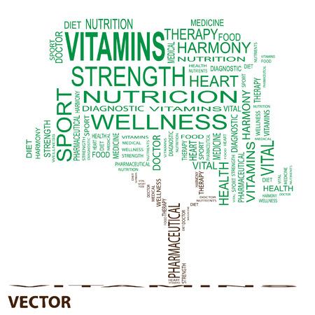 consonance: Conceptual health tree word cloud background Illustration