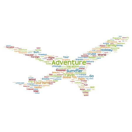 tagcloud: Concept or conceptual colorful plane silhouette travel tourism text word cloud tagcloud isolated