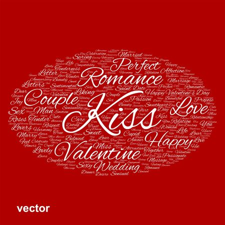 feel affection: Conceptual Love, Valentine or valentines Day, wedding word cloud