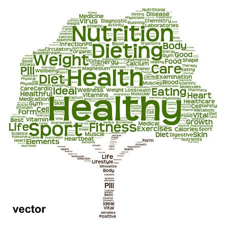 概念的な健康ダイエットや栄養ツリー単語の雲の背景に分離
