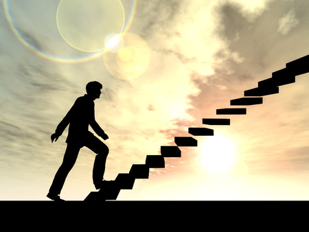Conceptual business man climbing a stair over sky at sunset background