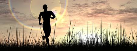 夕日を背景バナーで草で実行されている概念の人間の男
