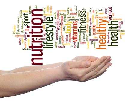 背景に分離された手の概念健康単語の雲