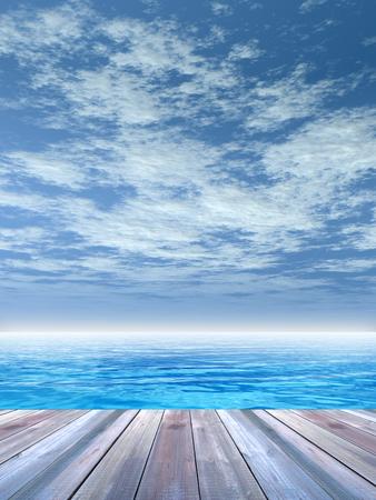 概念または概念の木製デッキの上に青い海と空
