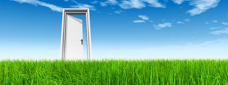 White door in green grass with sky background banner Banco de Imagens