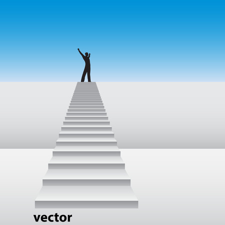 Conceptual 3D happy man on a white stair over an wall and sky