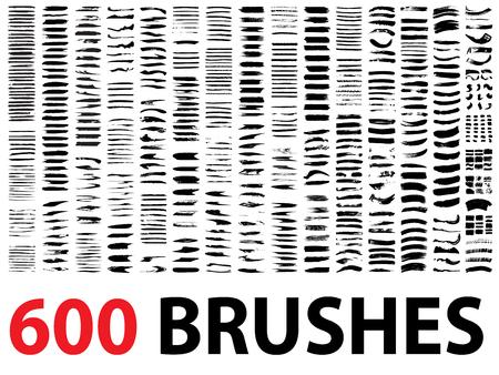 Vector sehr große Sammlung oder einen Satz von 600 künstlerischen schwarze Farbe Pinselstriche isoliert auf weißem Hintergrund Standard-Bild - 44814685