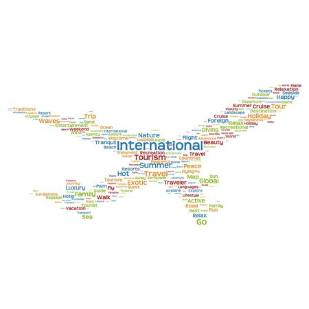 Conceptual travel or tourism plane silhouette word cloud isolated on white background