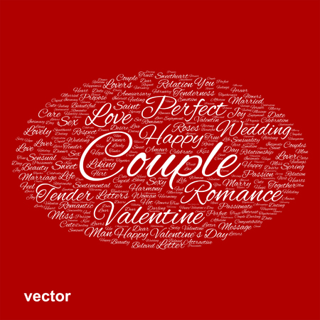 liking: Conceptual Love, Valentine or valentines Day, wedding word cloud