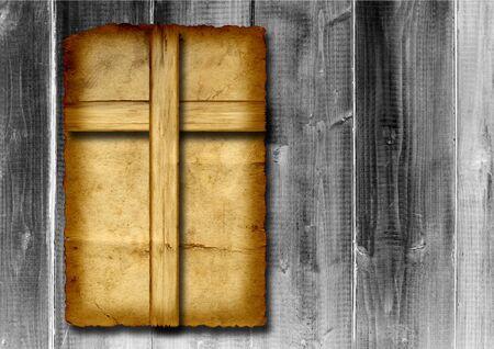 cruz religiosa: Cruz cristiana de época antigua papel sobre fondo de pared de madera