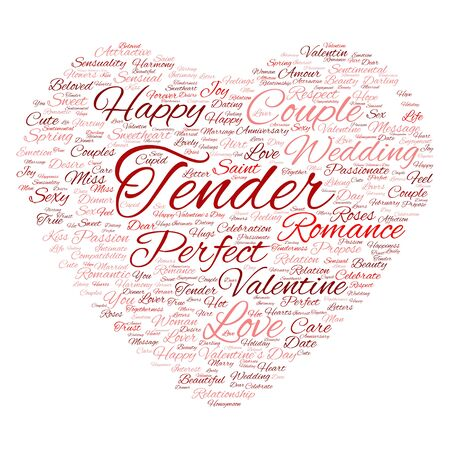 compatibility: Conceptual love or Valentine heart shape word cloud isoalted on white