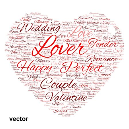 romantic sex: Conceptual love or Valentine heart shape word cloud isoalted on white