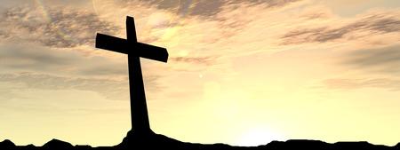 夕焼け背景バナーで祈る男と概念宗教ブラック クロスします。 写真素材
