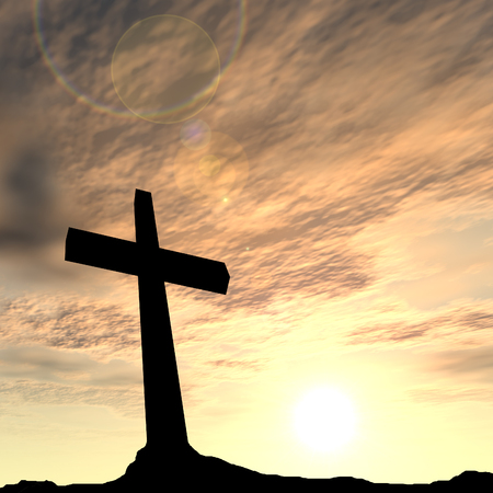 spiritual background: Conceptual religion black cross with a man praying at sunset sky background Stock Photo