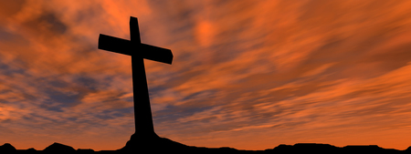 Conceptual religion black cross with a man praying at sunset sky background banner Banco de Imagens - 45294472