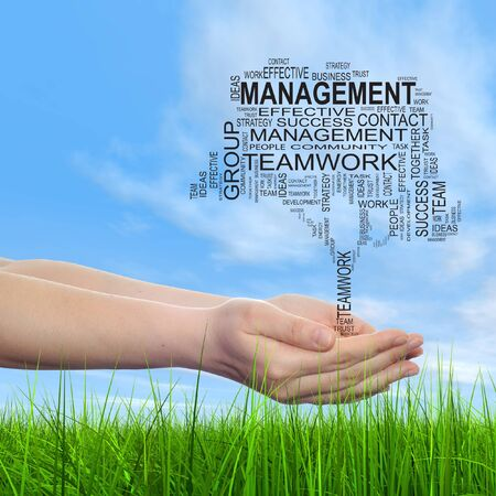 business development: Conceptual business tree word cloud hand background