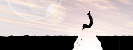 libertad: Concepto o conceptual hombre de negocios silueta saltando al atardecer el cielo de fondo bandera Foto de archivo