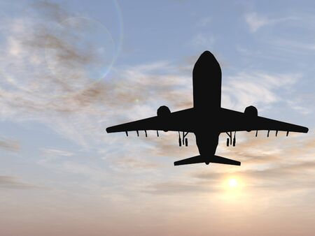 air speed: Conceptual black plane or aircraft silhouette flying over a sunset sky backgound