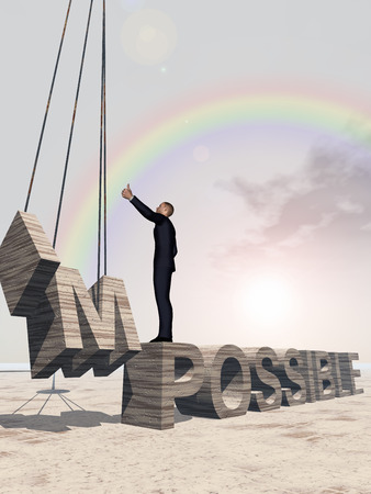 difficult mission: Conceptual 3D business man standing over abstract stone impossible text over sky