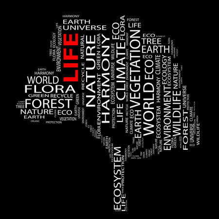 graphic design: Conceptual ecology tree word cloud background Stock Photo