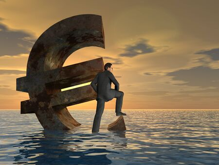 credit risk: Conceptual Euro crisis with a busines man sinking at sunset sky background