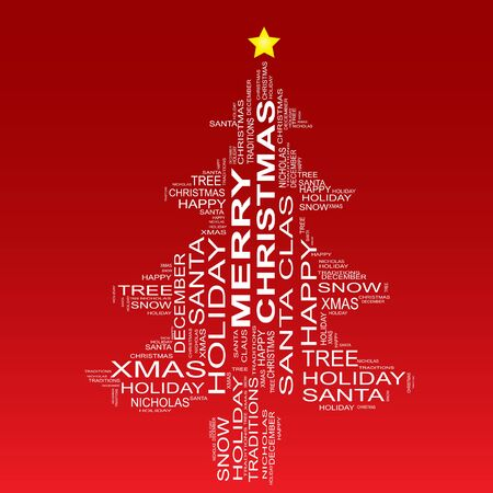 Conceptual Christmas holiday word cloud isolated on red background