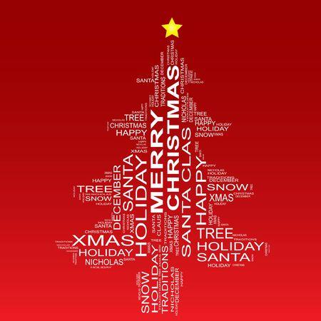 Conceptual nube de palabras de vacaciones de Navidad aislado en fondo rojo Foto de archivo - 47810363