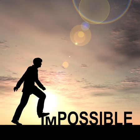 Conceptual impossible text concept with a man at sunset background