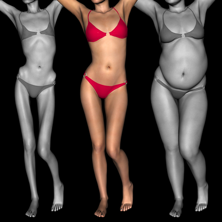 skinny: Mujer conceptual 3D o niña como grasa, sobrepeso vs ajuste, anoréxica bajo peso flaca sana
