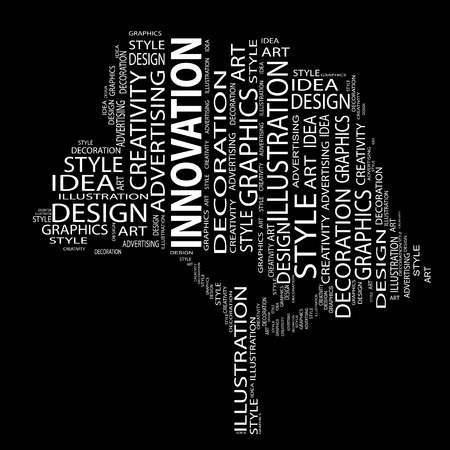 modern abstract design: Conceptual art design tree word cloud background Stock Photo