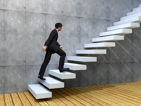 Conceptual business man climbing a stair over a wall and floor