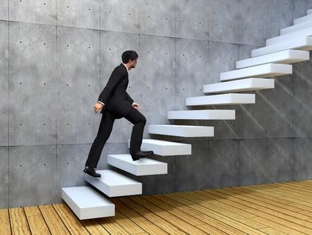 escalera: Hombre de negocios conceptual subir una escalera sobre una pared y el piso