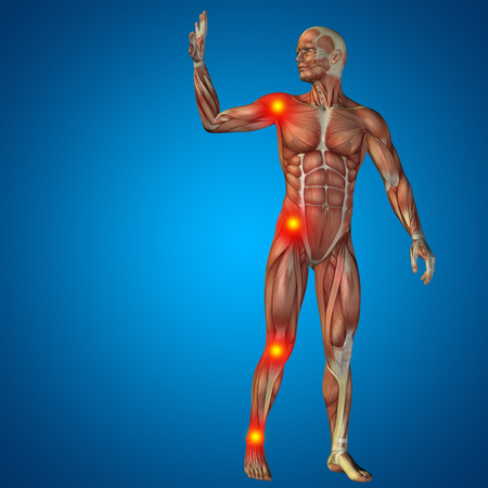 joint: Conceptual 3D human man anatomy joint pain body on blue background Stock Photo