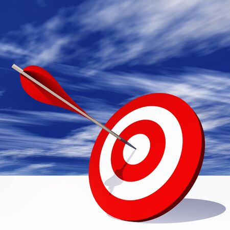 dart on target: Conceptual red dart target board with arrow in the center on clouds sky background