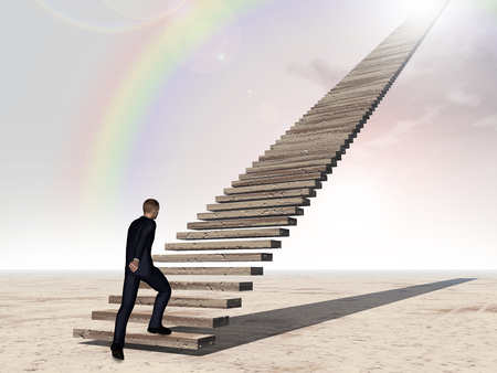 faith: Conceptual 3D business man walking or climbing stair on rainbow sky background with clouds