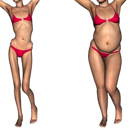 vientre femenino: Mujer conceptual 3D o niña en forma de grasa, exceso de peso vs anoréxica bajo peso flaca antes y después