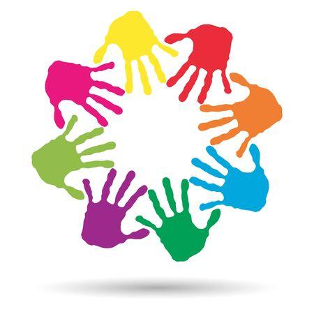 manos juntas: Concepto o niños conceptuales impresión pintada a mano aislado sobre fondo blanco