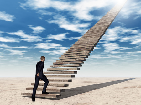 Conceptual 3D business man walking or climbing stair on sky background with clouds