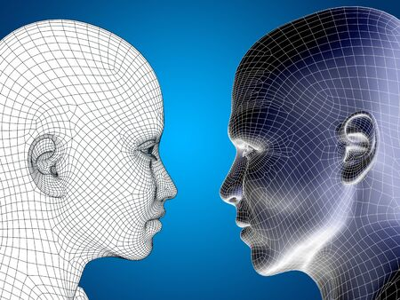 cabeza femenina: Concept or conceptual 3D wireframe or mesh human male and female head on blue background Foto de archivo